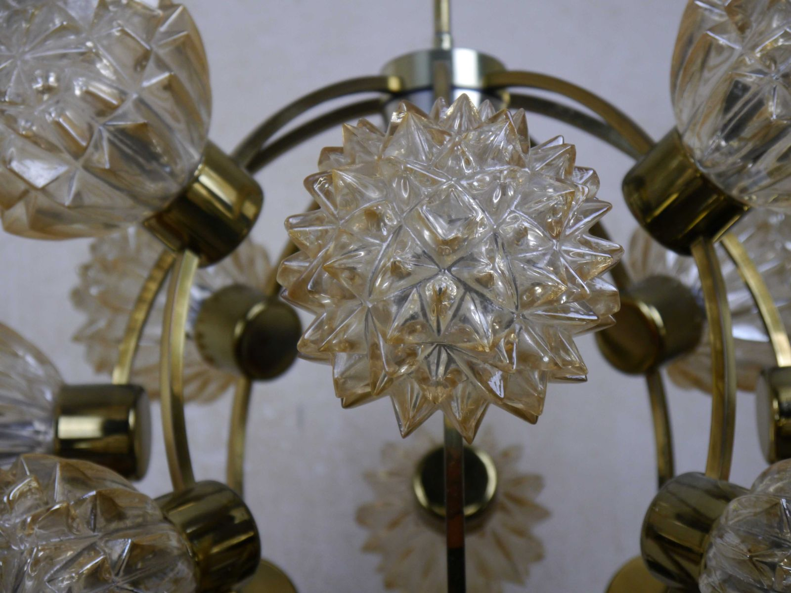Starburst Amber Glass & Crystal Orbit Ball Chandelier 1970s for