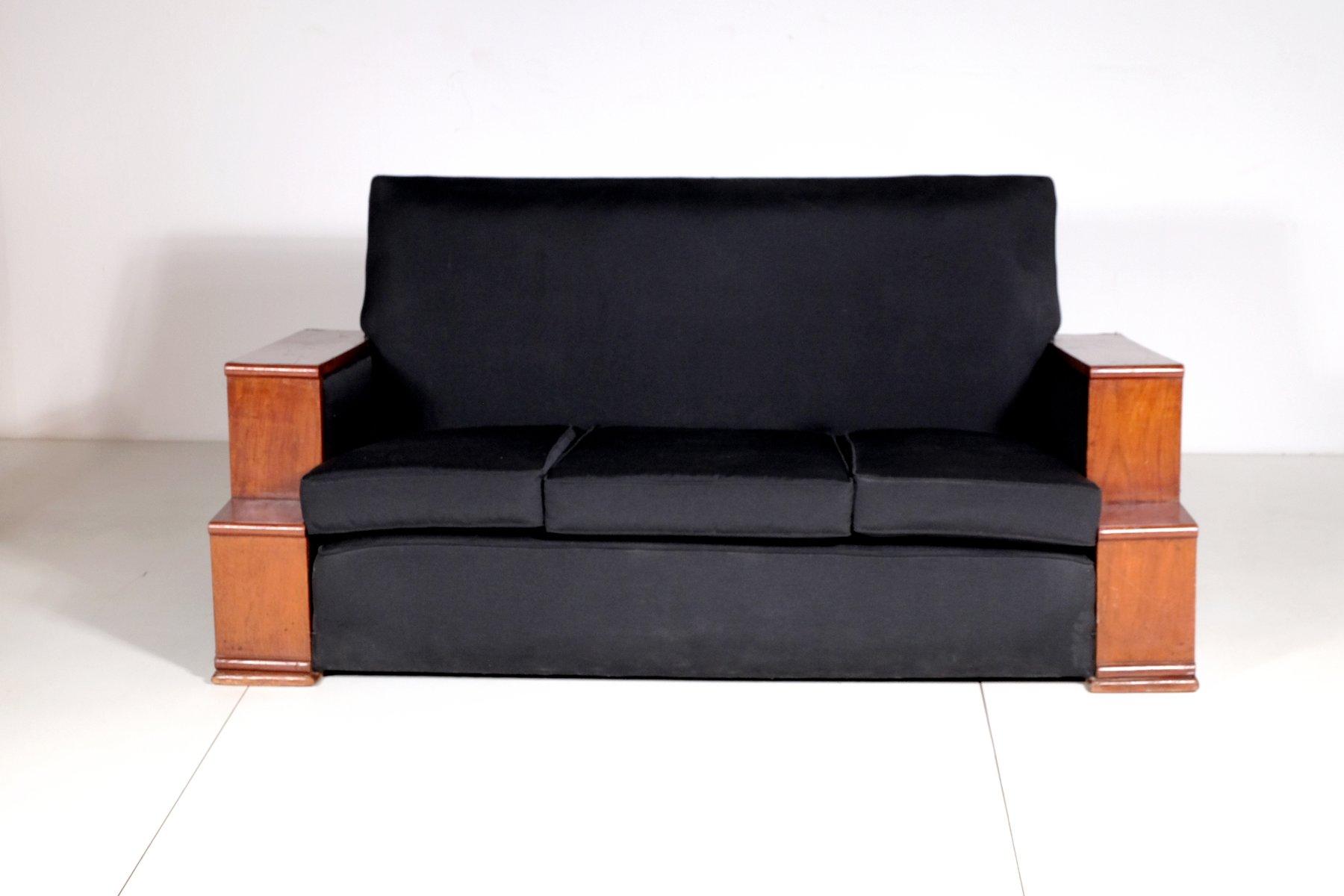 vintage art deco furniture. Vintage Art Deco Rosewood And Black Cotton Sofa, 1930s Furniture E