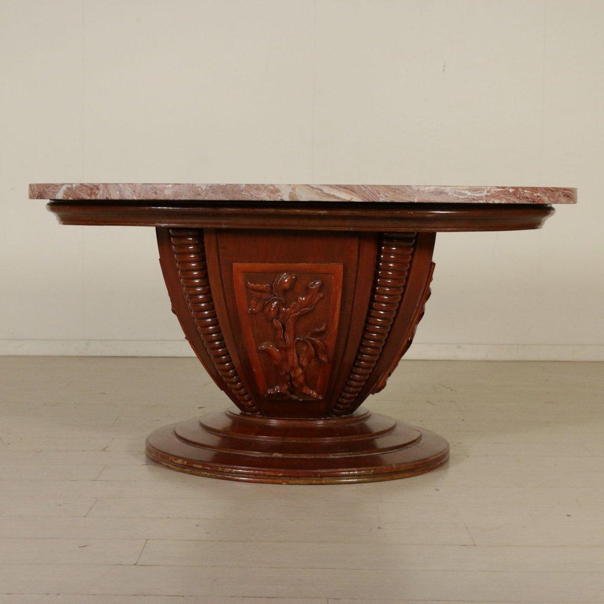 Tisch aus marmor holz walnuss furnier 1950er bei for Tisch aus marmor
