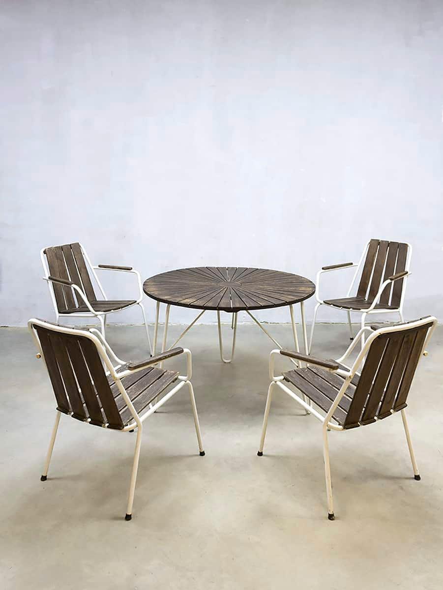 Juego de mesa y sillas de jardín francés vintage en venta en Pamono