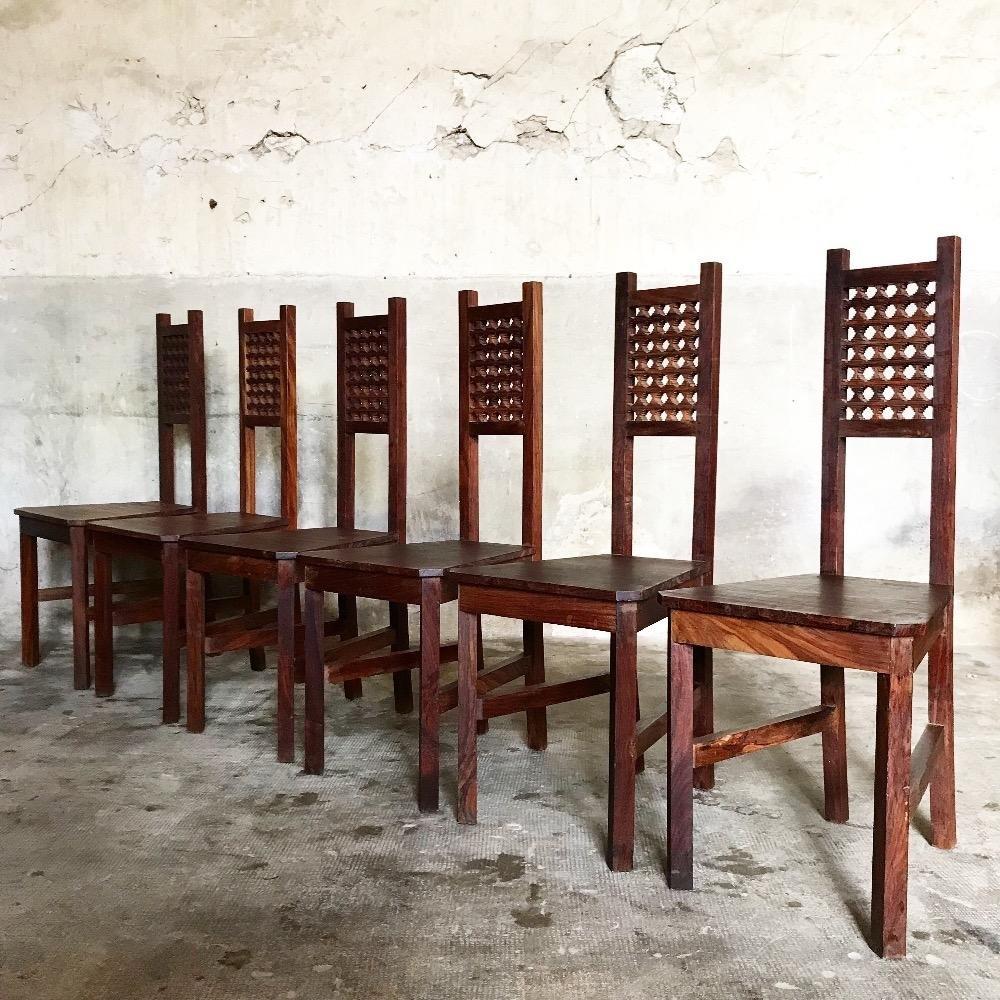 indonesische vintage esszimmerst hle 1960er 6er set bei. Black Bedroom Furniture Sets. Home Design Ideas