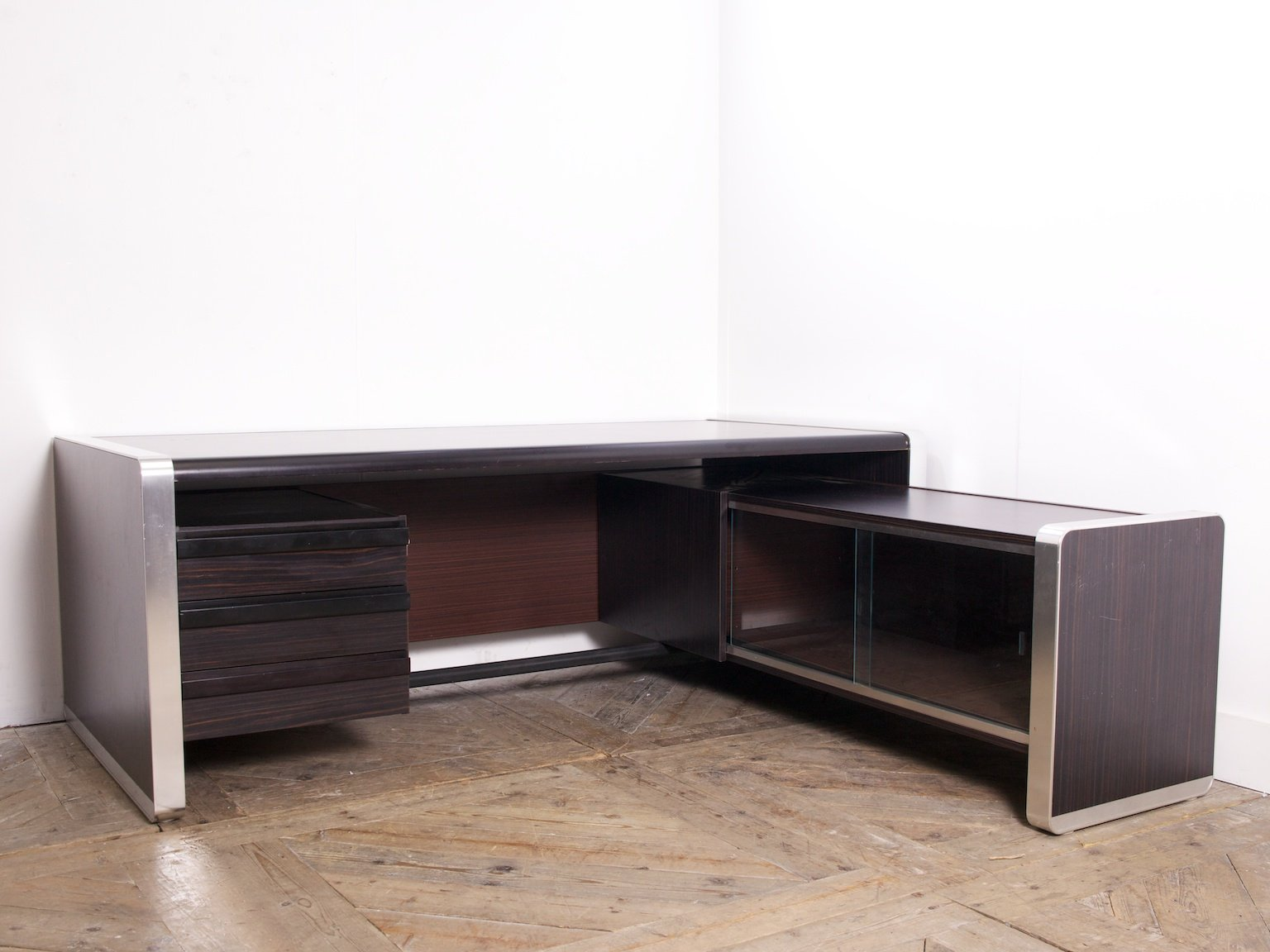 schwarzer palisander furnier schreibtisch 1980er bei. Black Bedroom Furniture Sets. Home Design Ideas