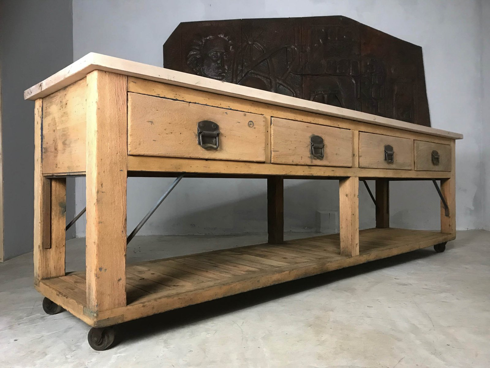 Vintage Pine Beech Baker 39 S Table Or Kitchen Island For