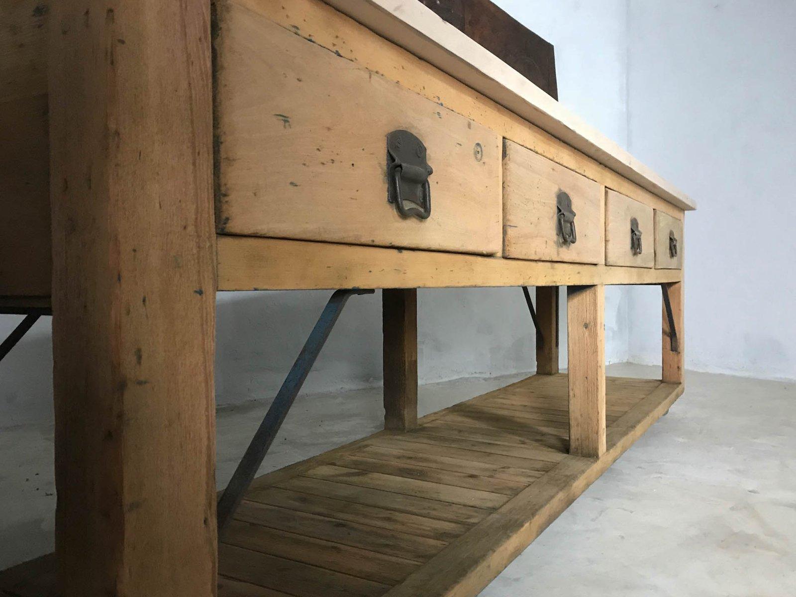 Isla de cocina y mesa de amasado vintage de haya y pino en venta en ...