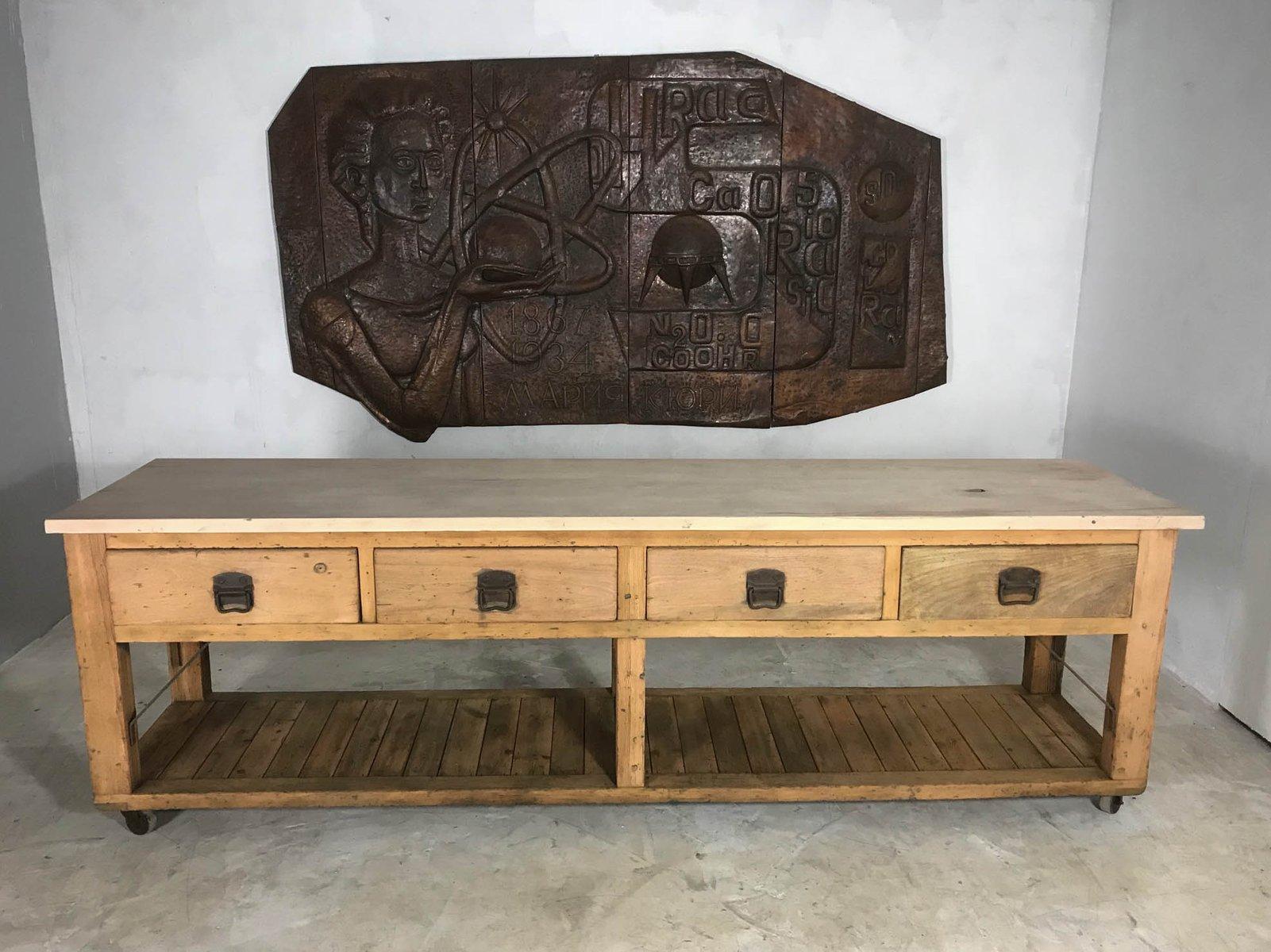 Credenza da cucina o tavolo da fornaio vintage in legno di for Credenza cucina