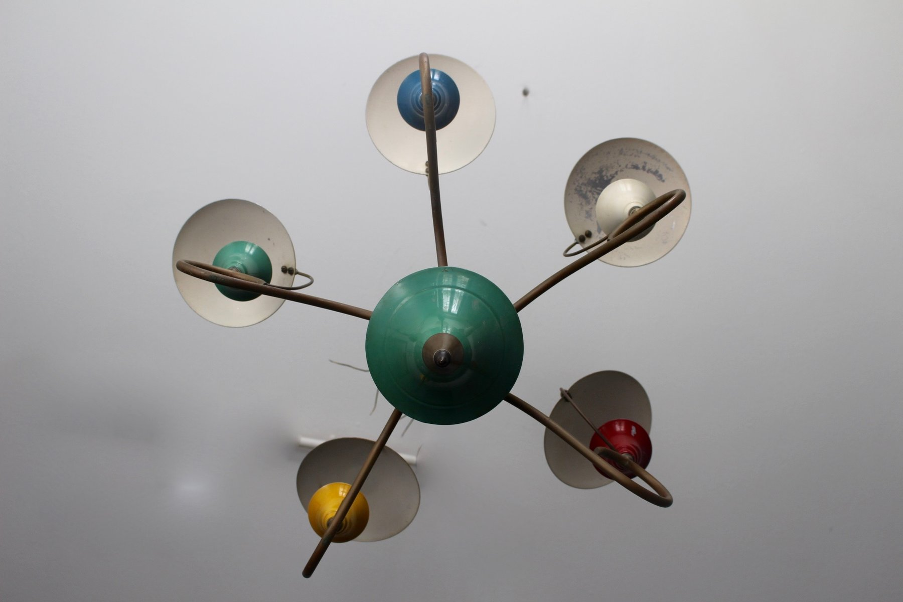 Mid century colorful chandelier with reflectors 1950s for sale at mid century colorful chandelier with reflectors 1950s aloadofball Choice Image