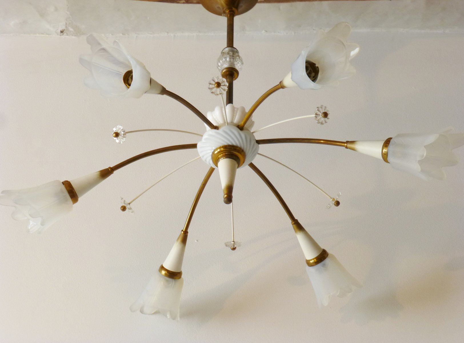Mid century french glass brass porcelain chandelier 1950s for price per piece arubaitofo Choice Image