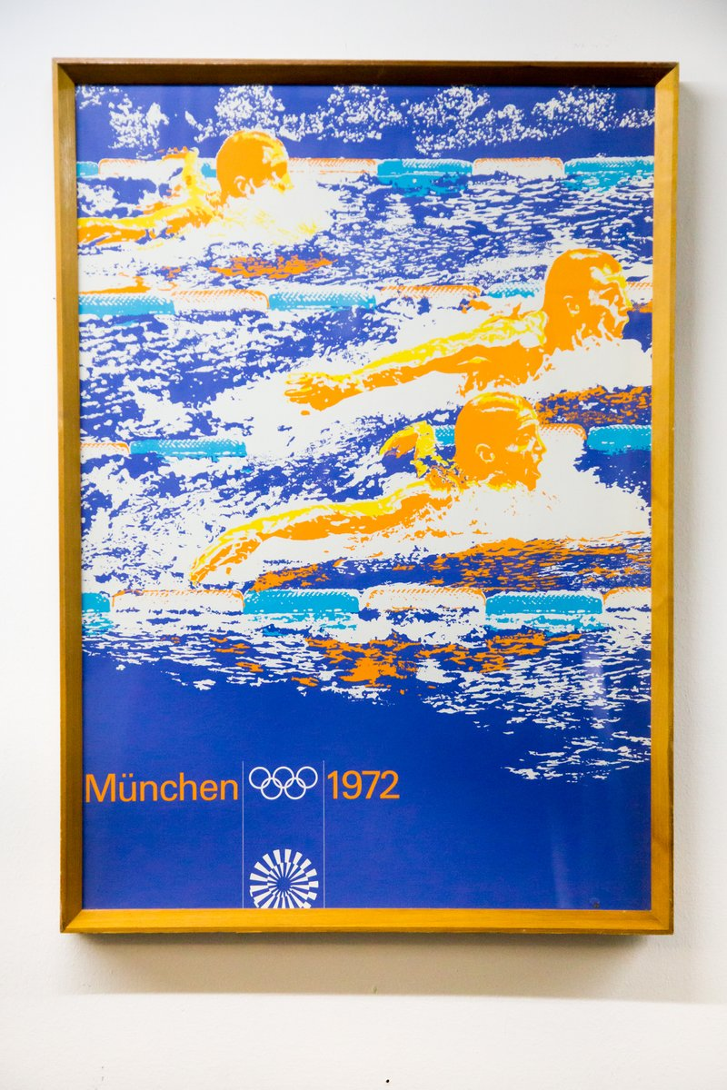 vintage munich summer olympics swimming poster 1972 for. Black Bedroom Furniture Sets. Home Design Ideas