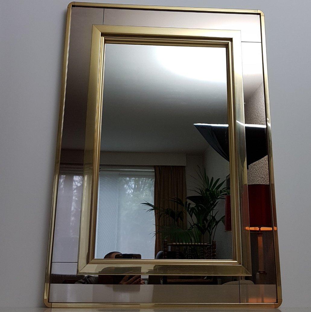 gro er vergoldeter spiegel mit rauchglas von belgo chrom 1980er bei pamono kaufen. Black Bedroom Furniture Sets. Home Design Ideas
