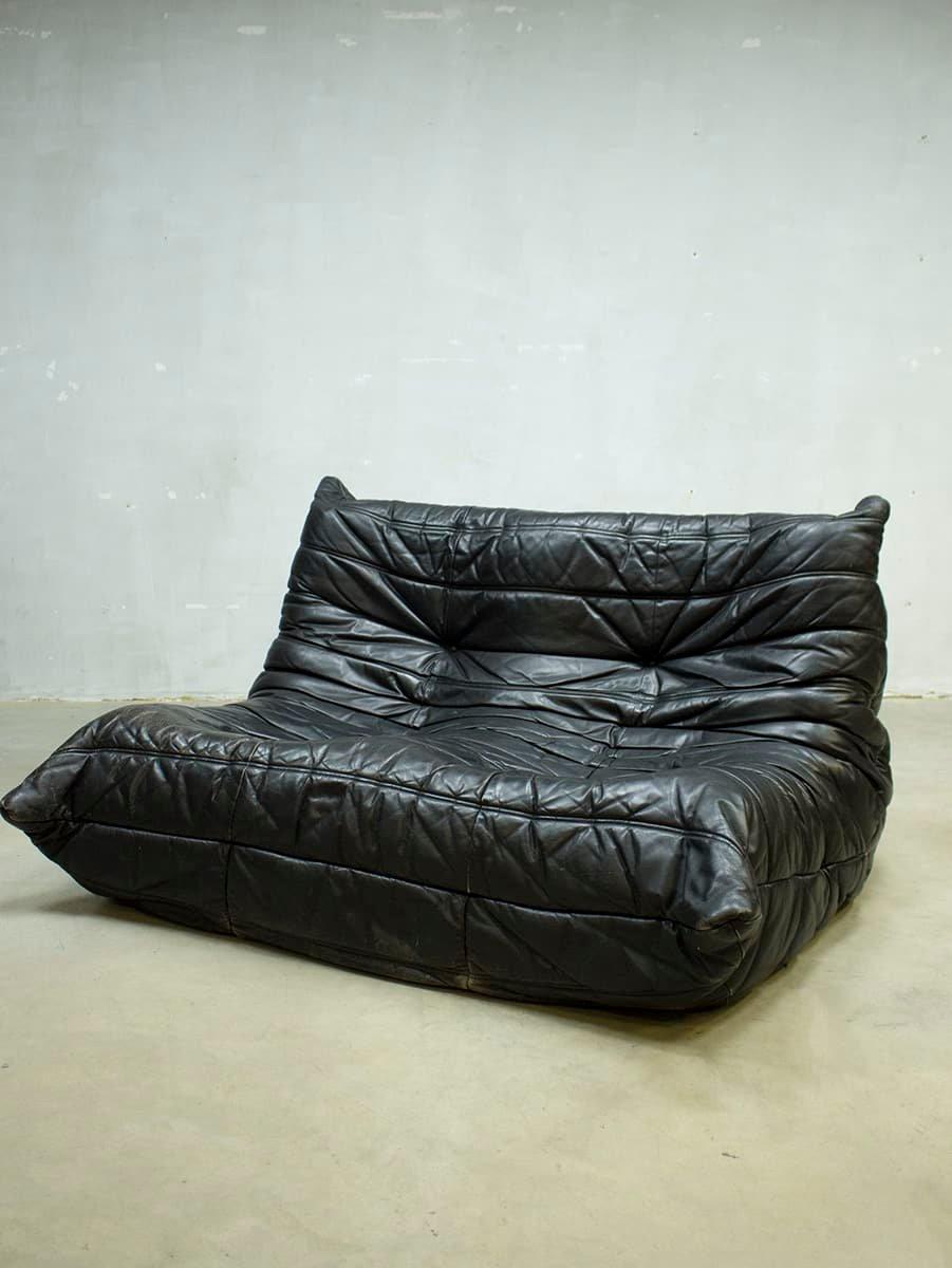 vintage leder togo sofa von michel ducaroy f r ligne roset 1970er bei pamono kaufen. Black Bedroom Furniture Sets. Home Design Ideas