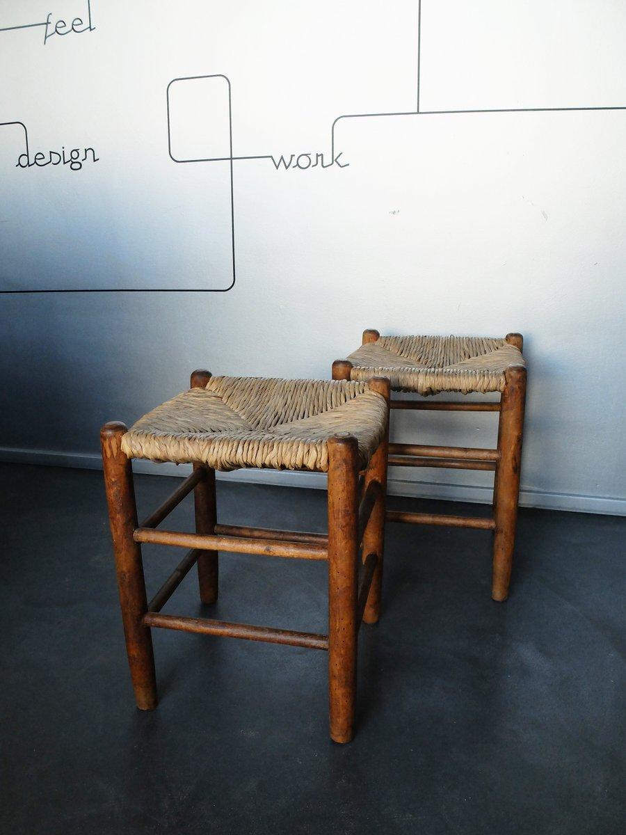 vintage n 17 paill bauche hocker mit sitzen aus stroh von. Black Bedroom Furniture Sets. Home Design Ideas