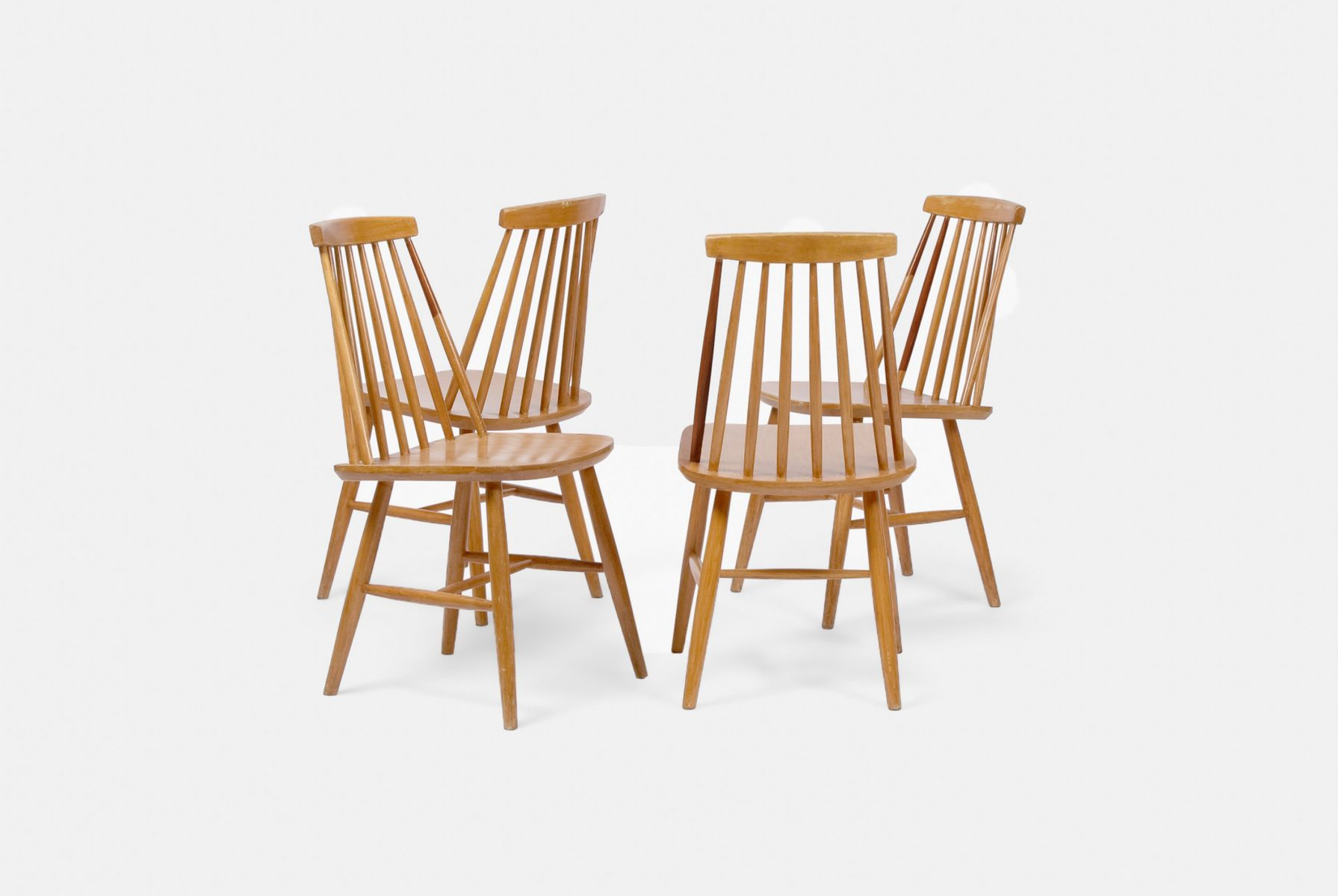 Mid Century Spindle Back Chairs, 1960s, Set Of 4
