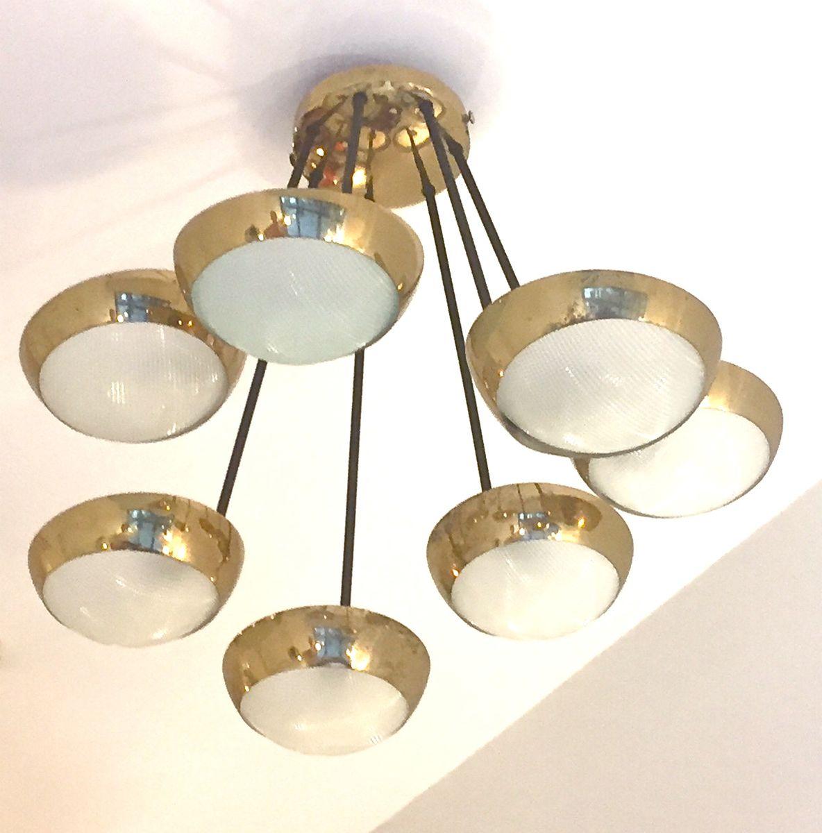 Italienische mid century deckenlampe aus messing und glas for Deckenlampe messing
