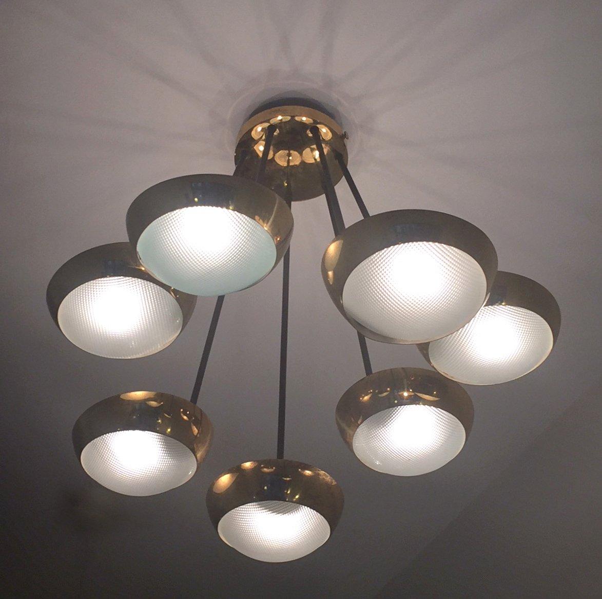italienische mid century deckenlampe aus messing und glas. Black Bedroom Furniture Sets. Home Design Ideas