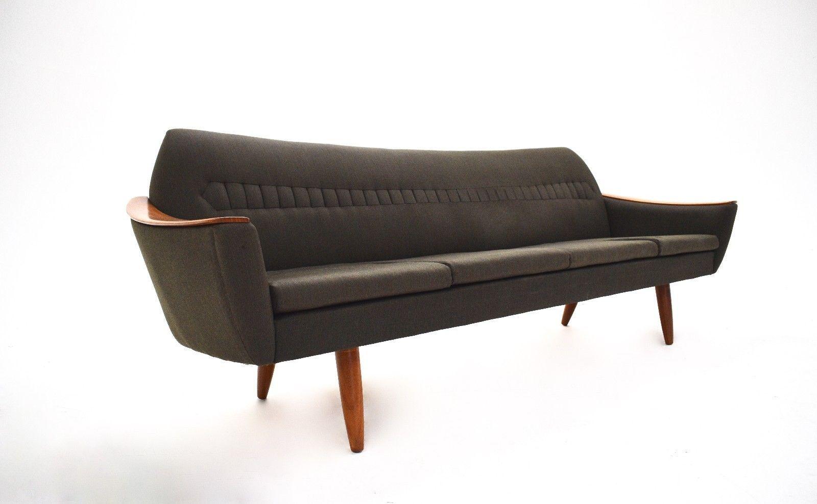 Vintage Norwegian Wool U0026 Teak 4 Seater Sofa, 1960s