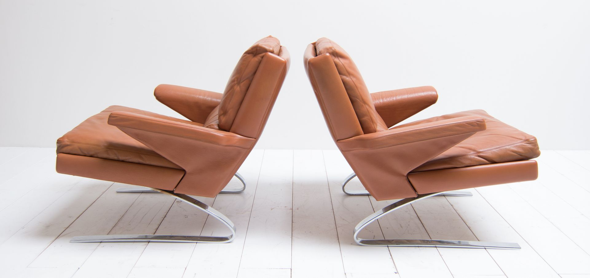 Leather Lounge Chairs By Reinhold Adolf U0026 Hans Jürgen Schröpfer For Cor,  1960s, Set Of 2