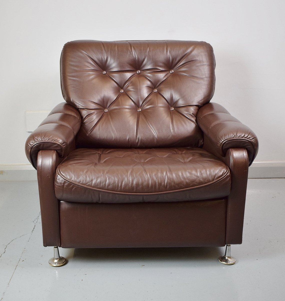 Ingolf Chair Brown Black: Vintage Dark Brown Leather Club Chair, 1970s For Sale At