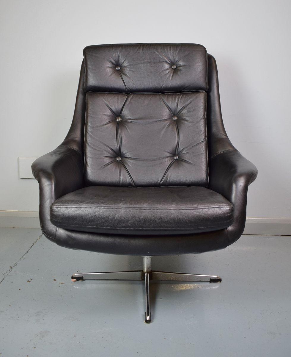 Danish Black Leather Swivel Lounge Chair