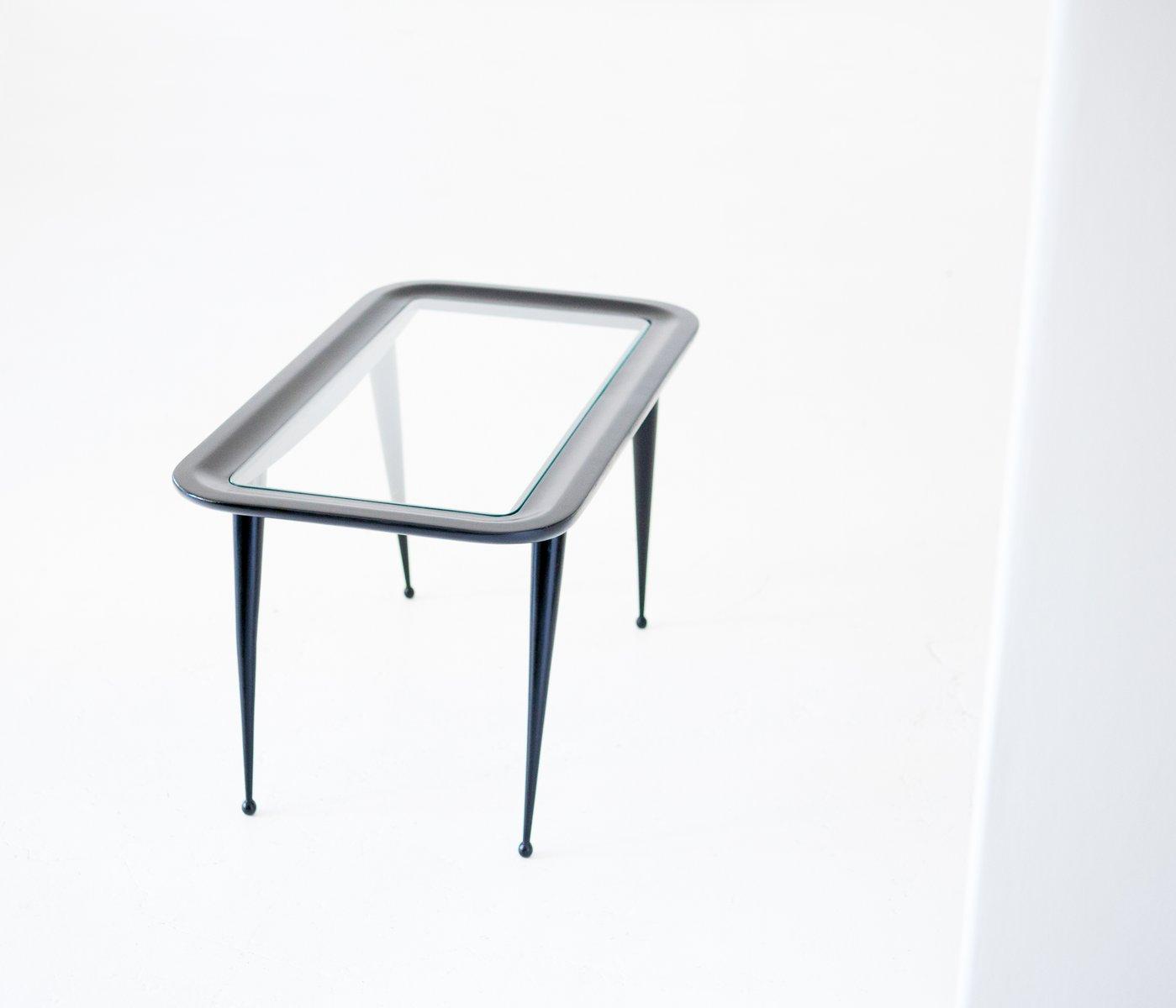 couchtisch aus lackiertem holz mit platte aus glas 1950er. Black Bedroom Furniture Sets. Home Design Ideas