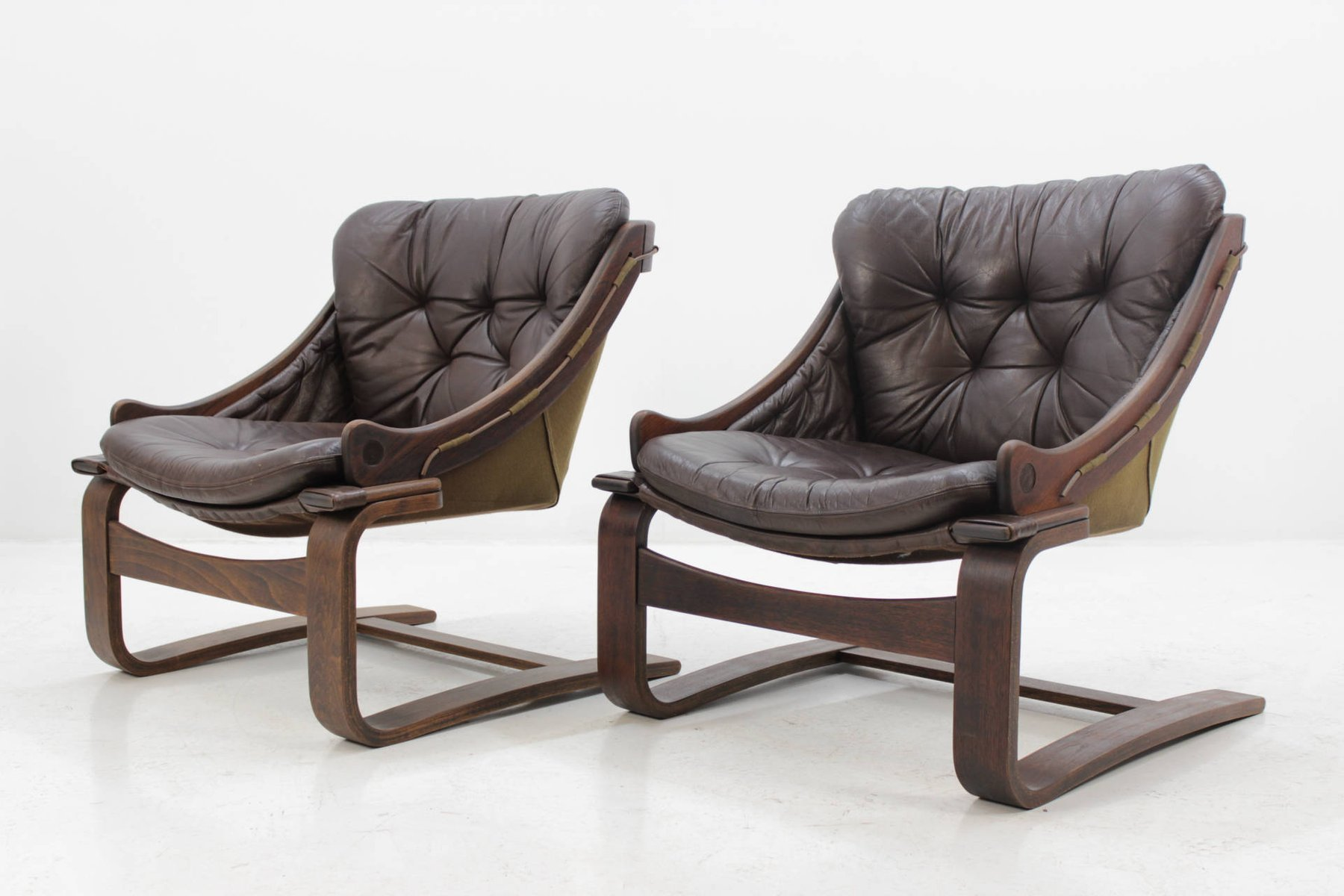 scandinavian bentwood leather lounge chair by ake fribytter for nelo m bel 1970s for sale at pamono. Black Bedroom Furniture Sets. Home Design Ideas