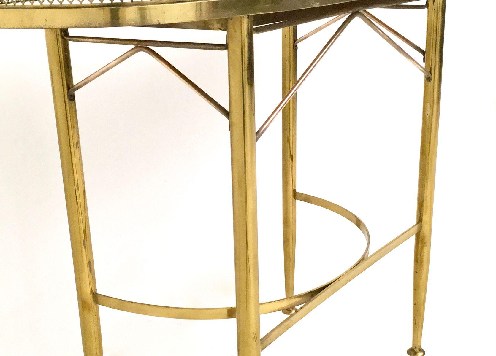 italienischer konsolentisch aus messing mit platte aus schwarzem glas 1950er bei pamono kaufen. Black Bedroom Furniture Sets. Home Design Ideas