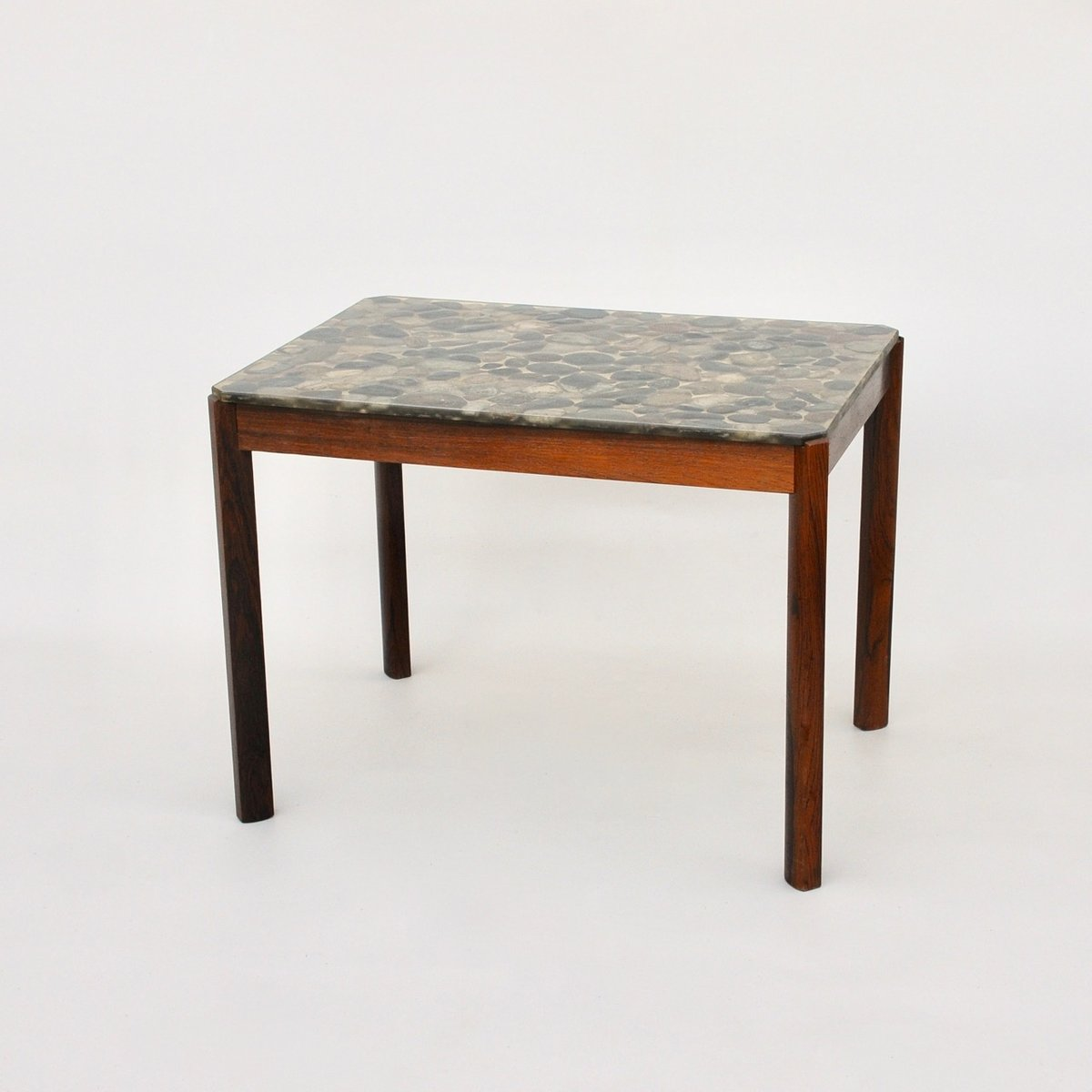 Awesome Danish Rosewood Pebbles In Resin Side Table, 1970s