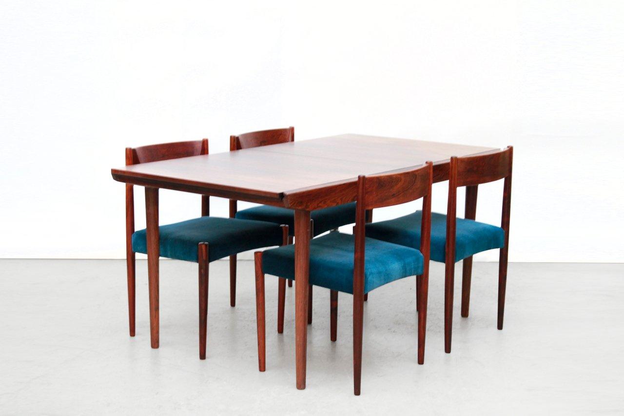 Set di un tavolo da pranzo allungabile e 6 sedie in palissandro ...