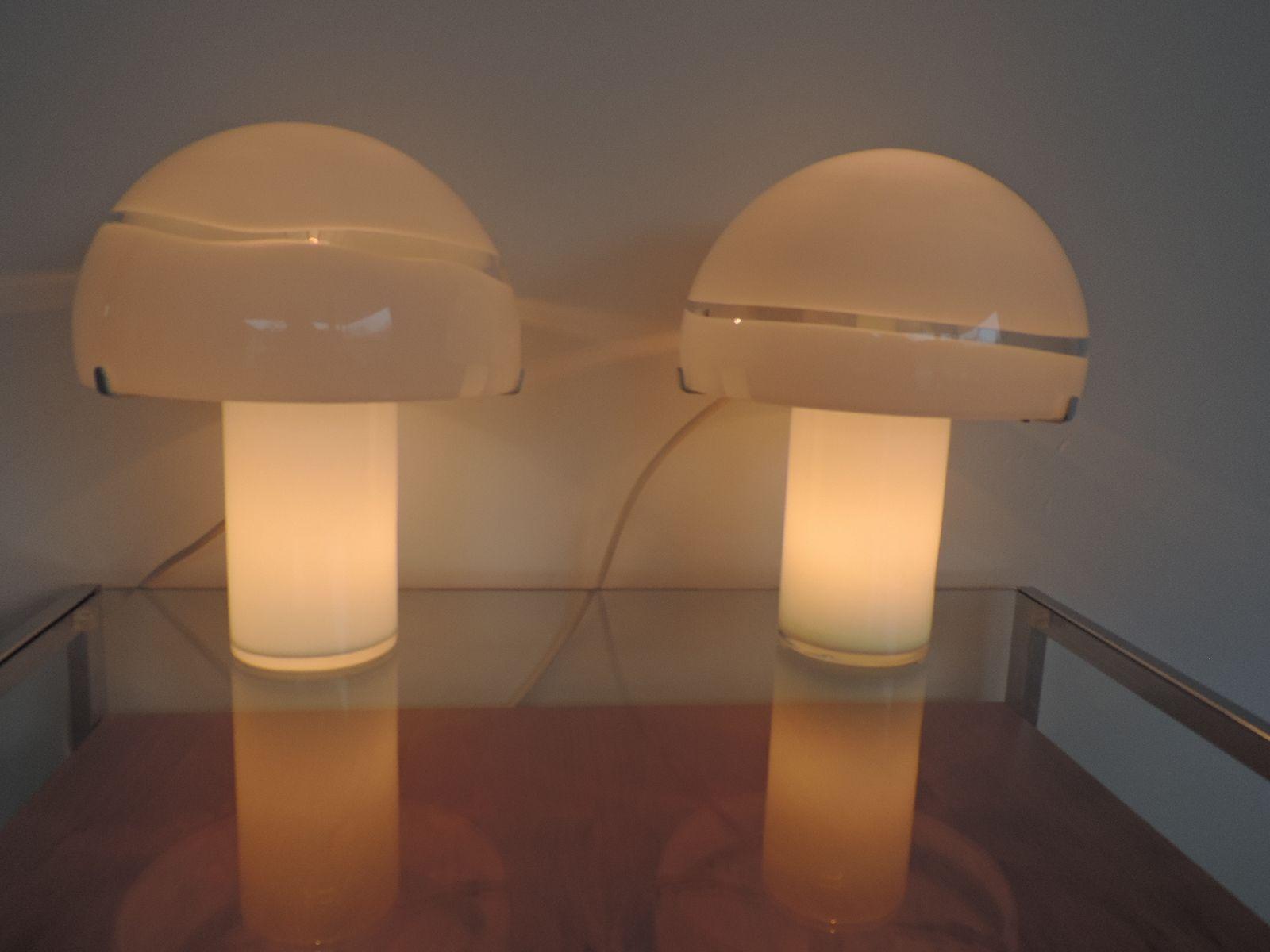 murano glas lampen f r mazzega 1970er 2er set bei pamono. Black Bedroom Furniture Sets. Home Design Ideas