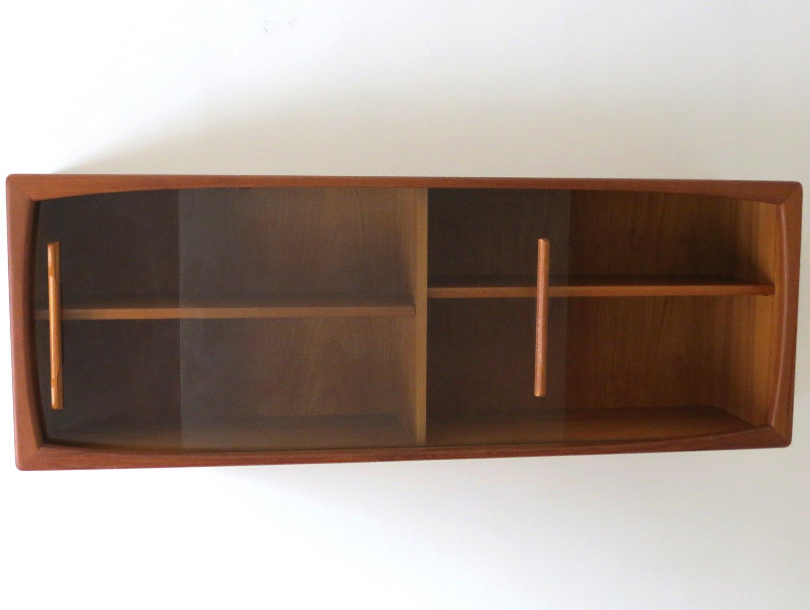 mid century wandregal mit schiebet ren aus glas von. Black Bedroom Furniture Sets. Home Design Ideas