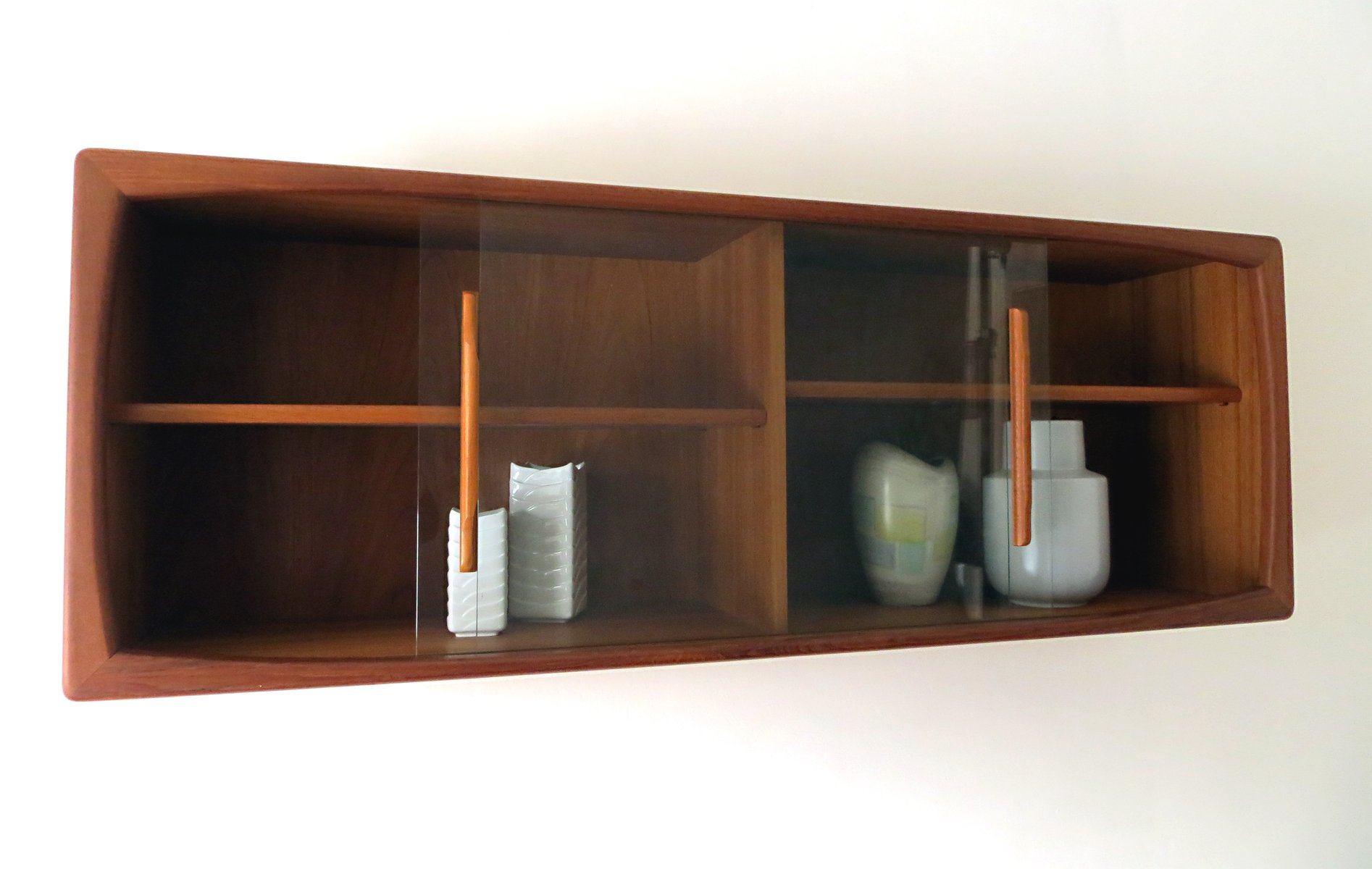 Mid century modern wall shelf with sliding glass doors for Sliding glass wall price