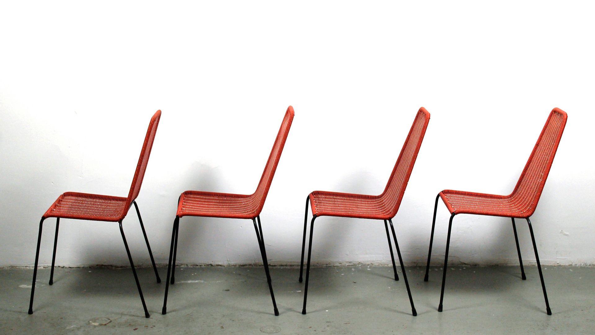 gewebte italienische mid century st hle f r den garten 4er set bei pamono kaufen. Black Bedroom Furniture Sets. Home Design Ideas