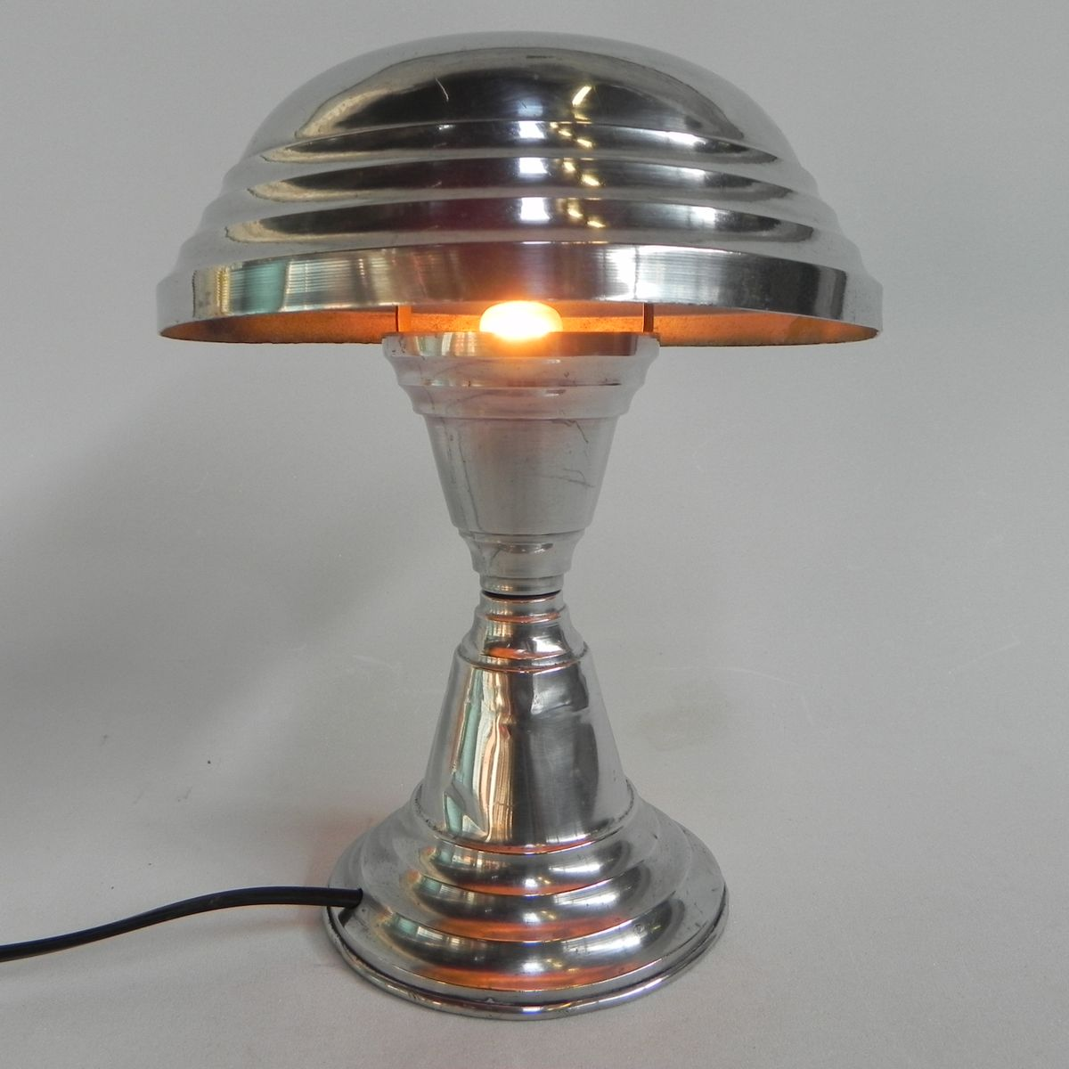 French Aluminum Mushroom Table Lamp, 1930s