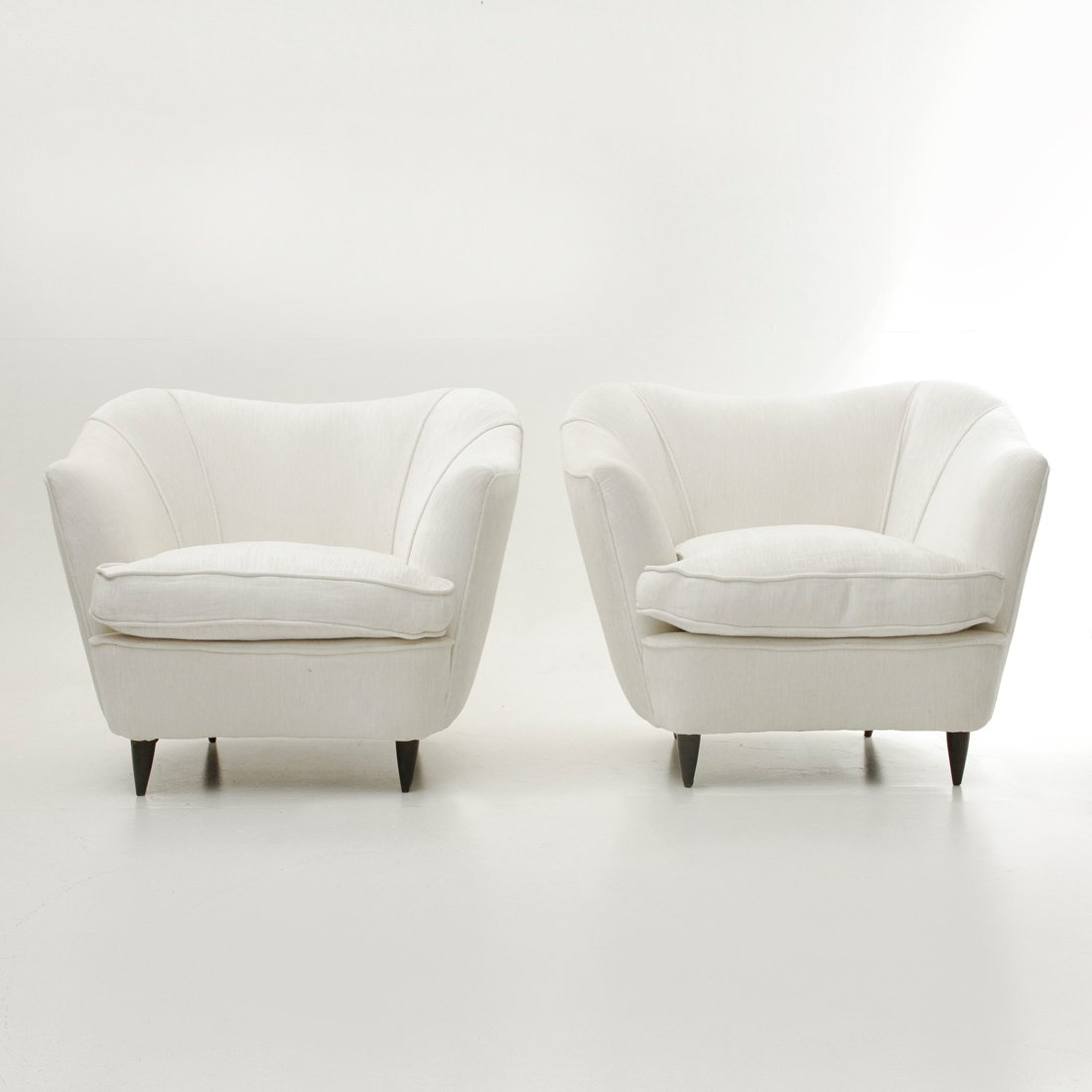 Perfect White Velvet Lounge Chairs, 1950s, Set Of 2