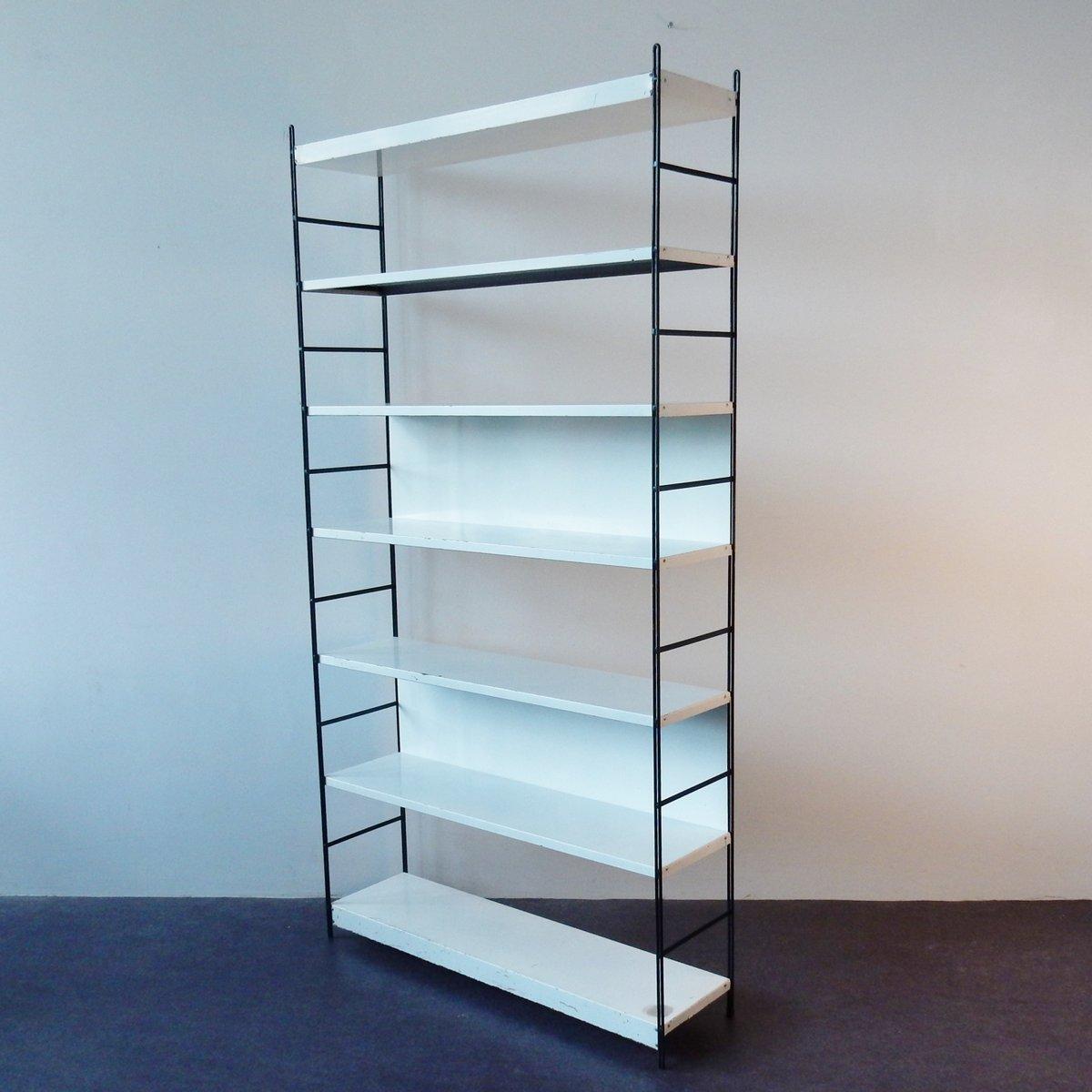 niederl ndisches b cherregal aus metall in schwarz wei 1960er bei pamono kaufen. Black Bedroom Furniture Sets. Home Design Ideas