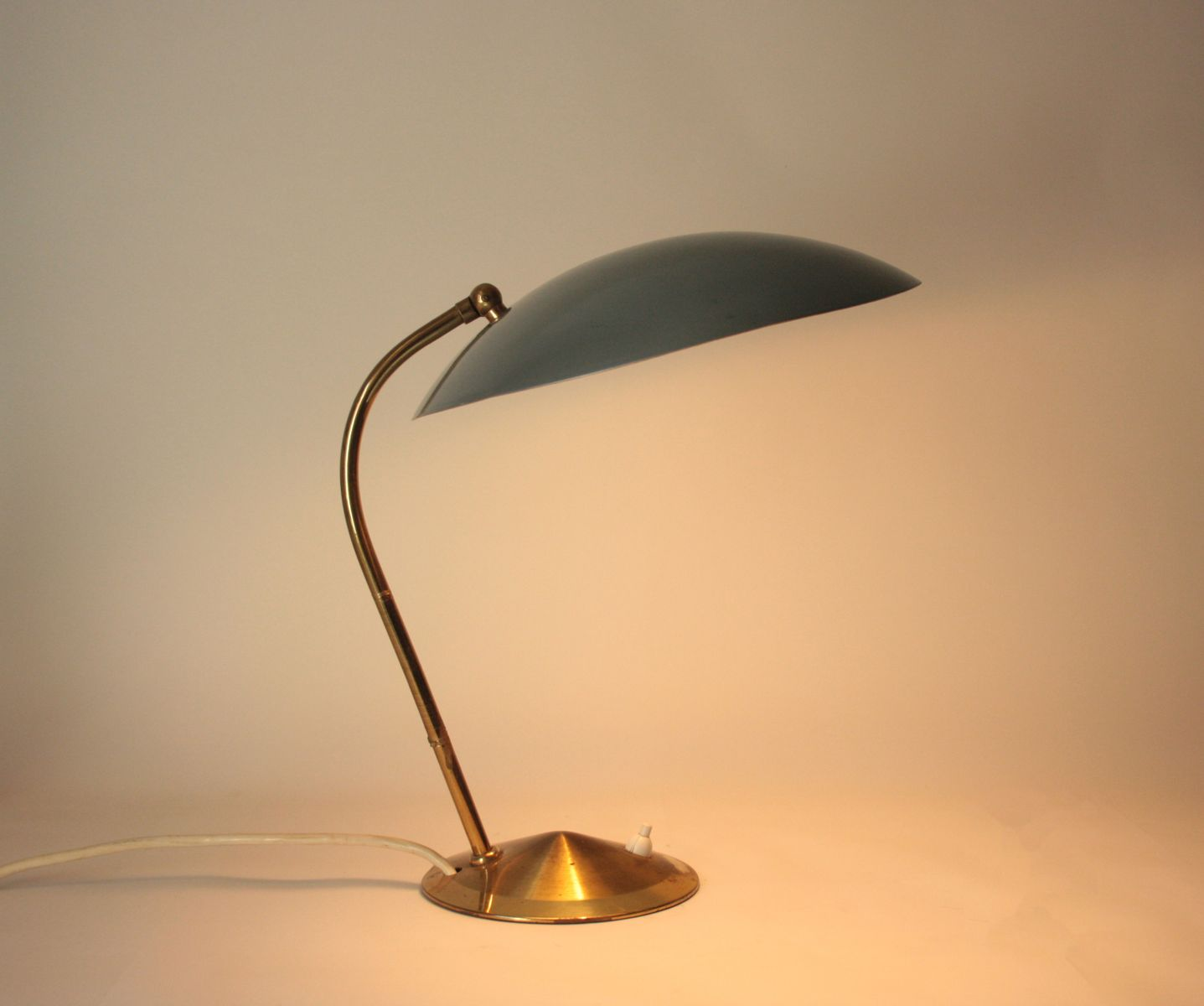 Mid-Century Brass Desk Lamp with Dove Blue Shade
