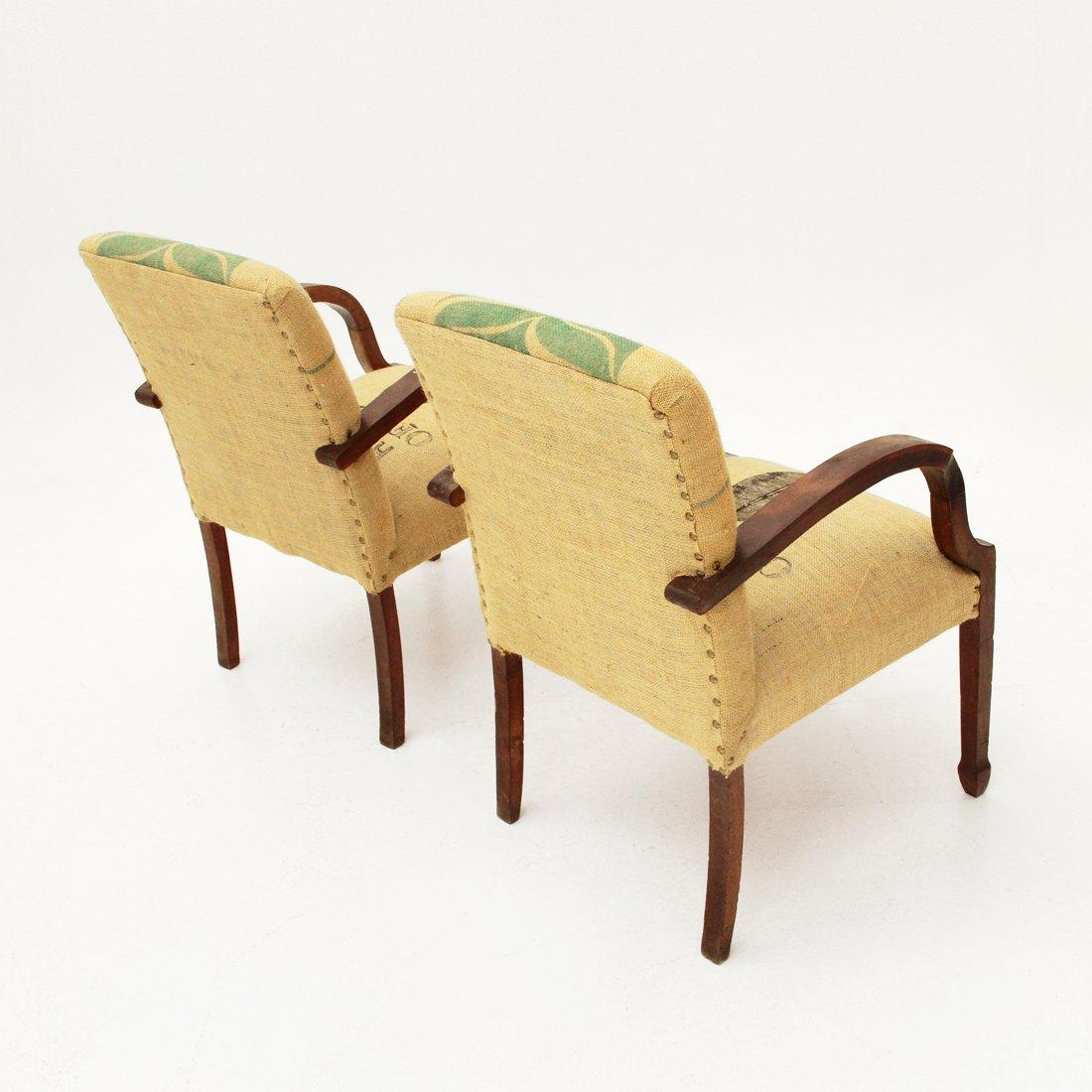 Italian Jute Easy Chairs, 1940s, Set Of 2