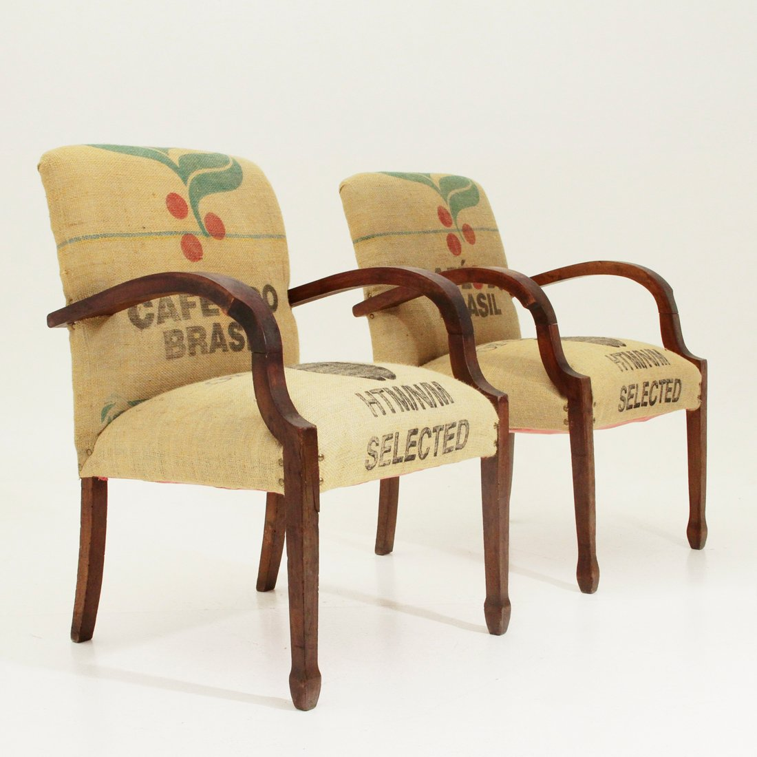 Awesome Italian Jute Easy Chairs, 1940s, Set Of 2