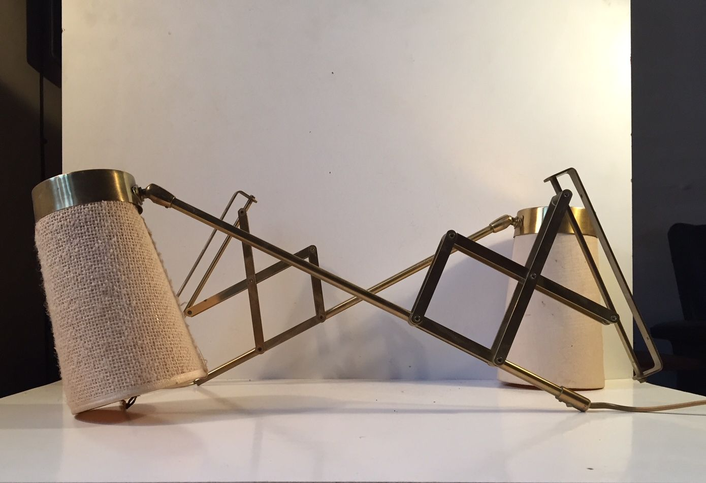 Brass Scissor Wall Lamps By Th. Valentiner, 1950s, Set Of 2 For Sale At  Pamono