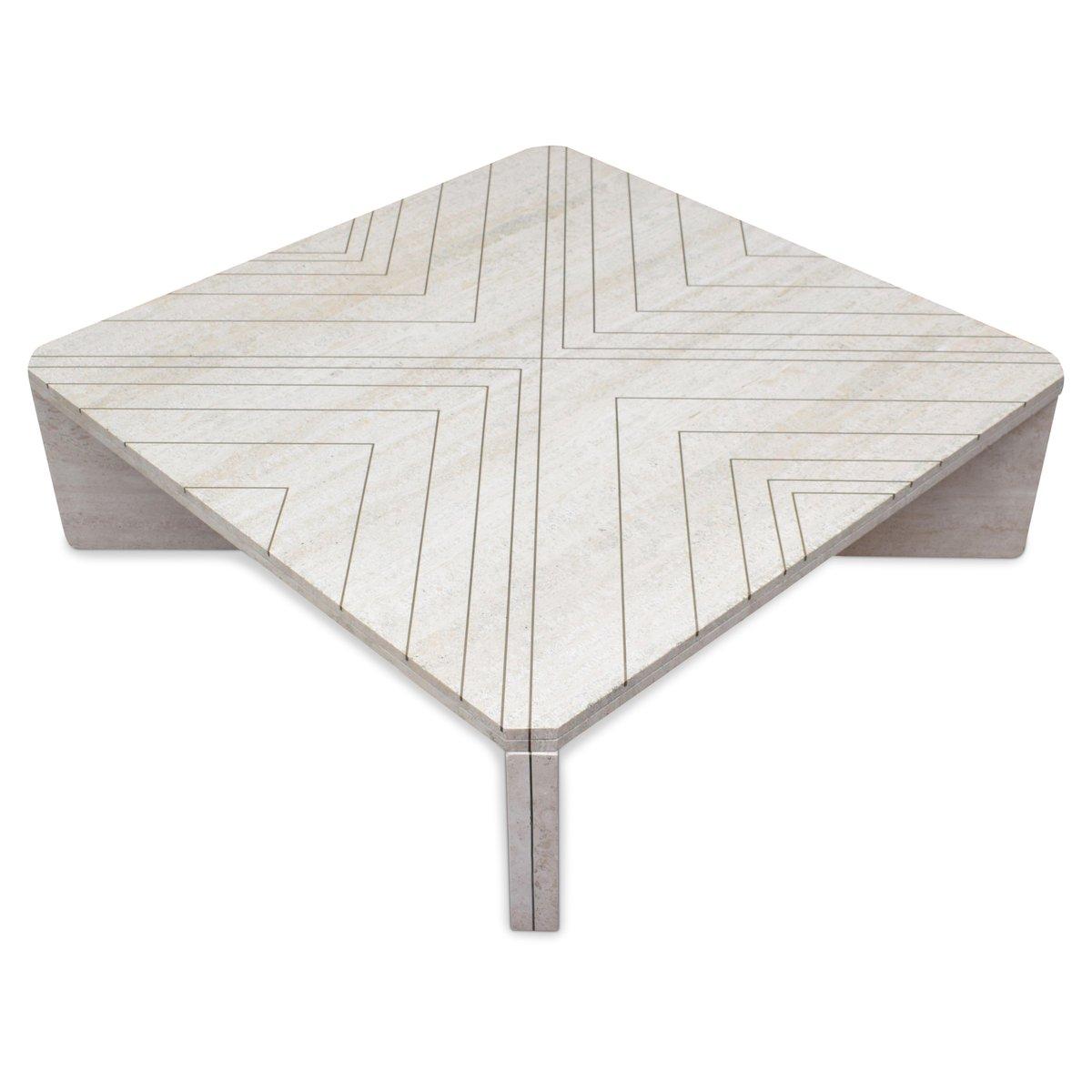table basse en travertin laiton par willy rizzo italie 1970s en vente sur pamono. Black Bedroom Furniture Sets. Home Design Ideas