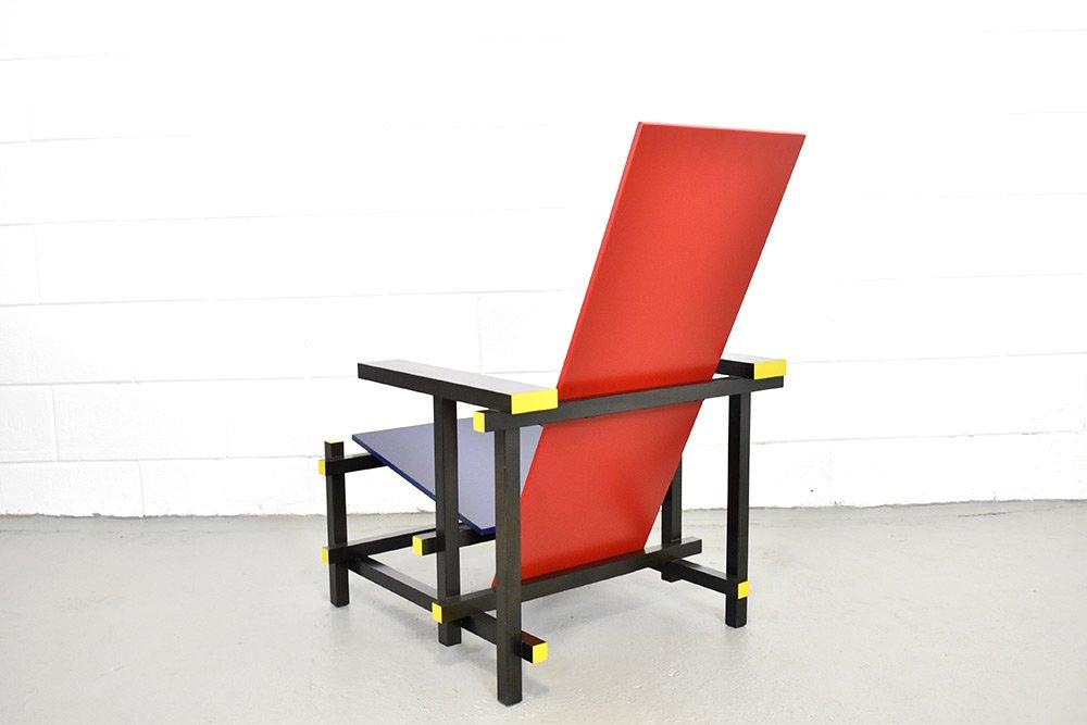Rietveld Stuhl 635 stuhl in rot blau gerrit rietveld für cassina 1980er bei