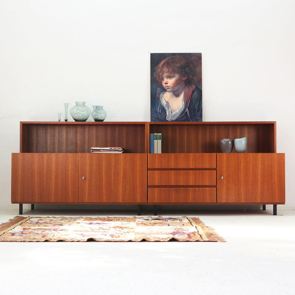 zweit riges teak furnier sideboard mit ablage von idee m bel 1960er bei pamono kaufen. Black Bedroom Furniture Sets. Home Design Ideas