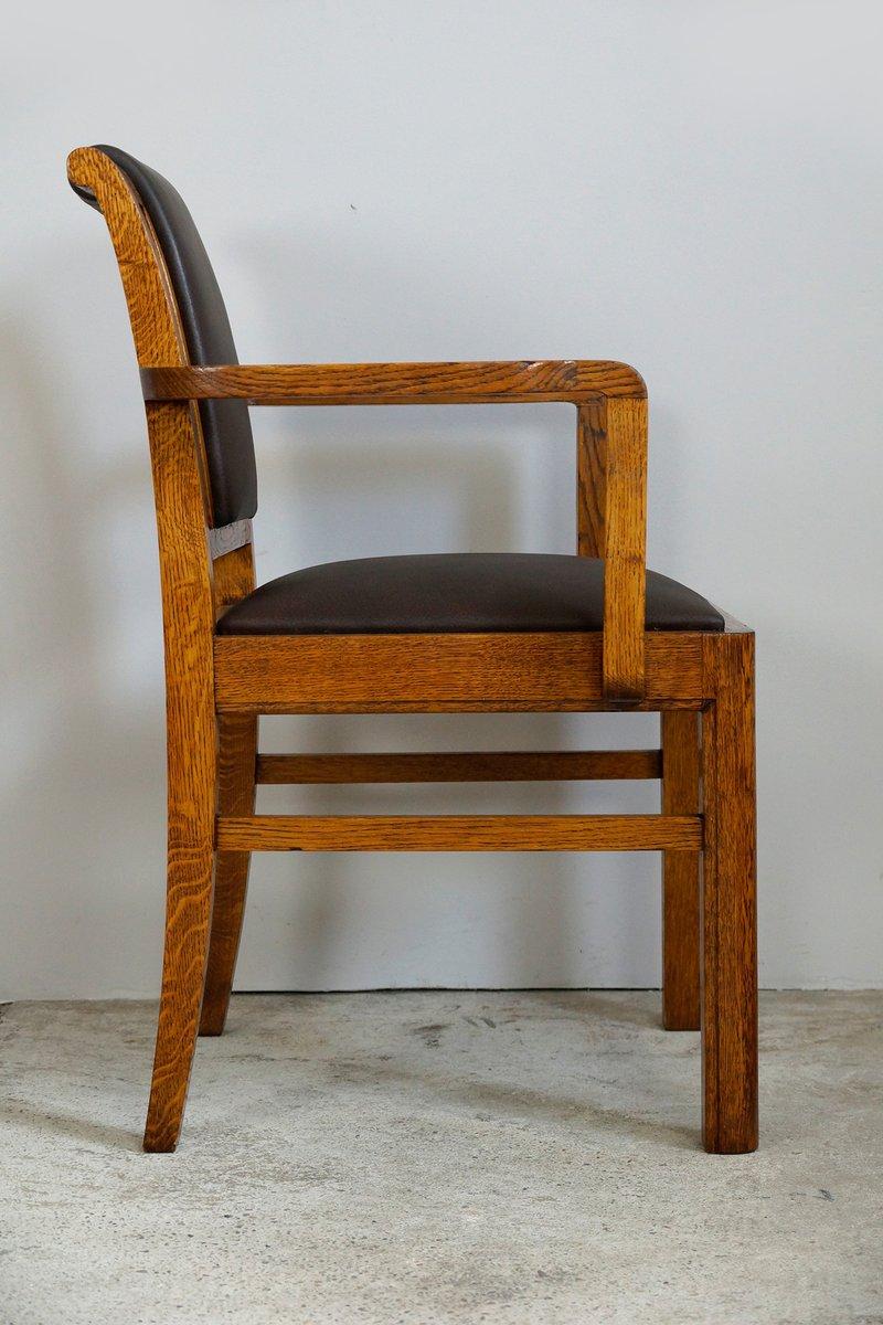 art d co eiche leder st hle 4er set bei pamono kaufen. Black Bedroom Furniture Sets. Home Design Ideas