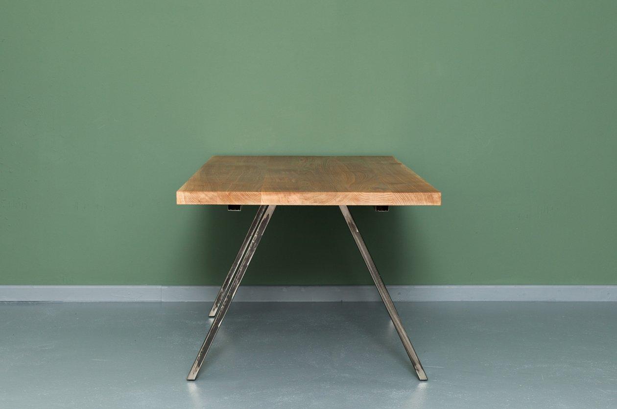 landgraaf ausziehbarer esstisch aus recycletem eichenholz und stahl von johanenlies bei pamono. Black Bedroom Furniture Sets. Home Design Ideas