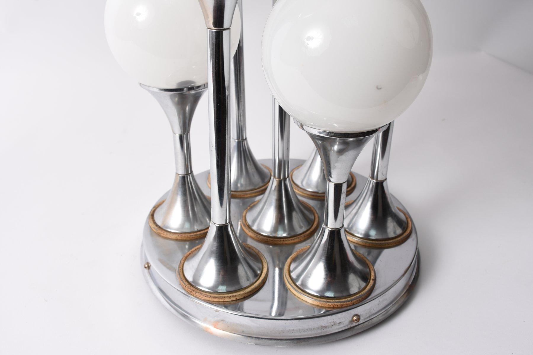 space age kronleuchter aus chrom und glas mit sieben leuchten 1970er bei pamono kaufen. Black Bedroom Furniture Sets. Home Design Ideas