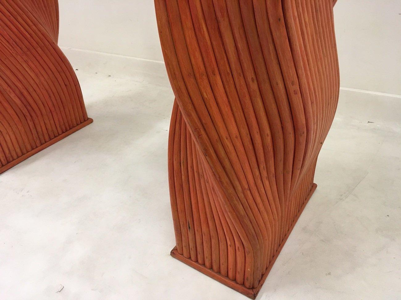 roter vintage bambus esstisch mit glasplatte von mcguire. Black Bedroom Furniture Sets. Home Design Ideas