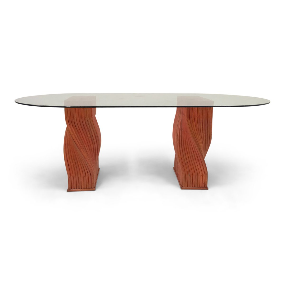 Vintage red bamboo dining table with glass top from for Red dining table