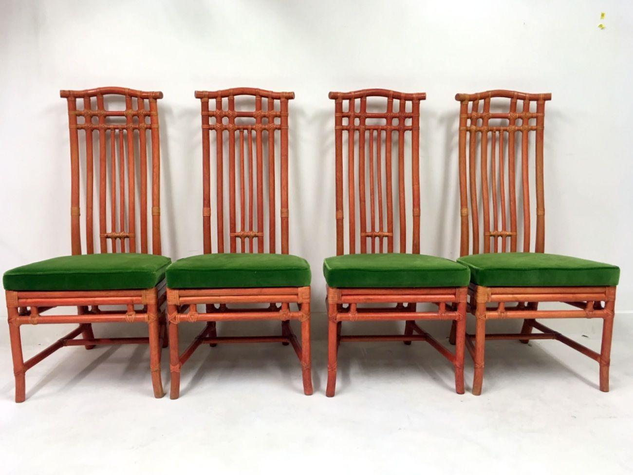Sillas de comedor vintage de bambú rojo y terciopelo verde de ...