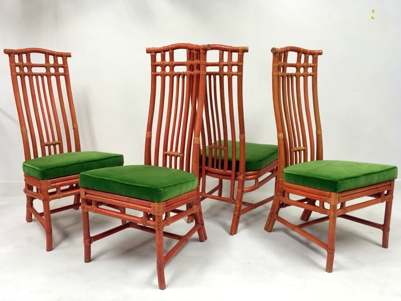 Vintage red bamboo and green velvet dining chairs from for Red dining chairs for sale
