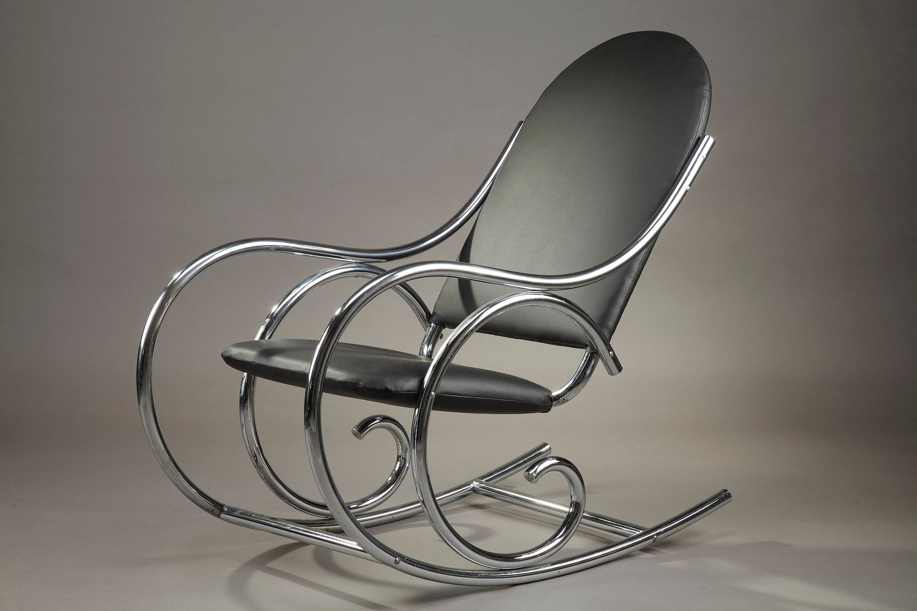 Metal And Leatherette Rocking Chair From Thonet, 1950s For Sale At Pamono