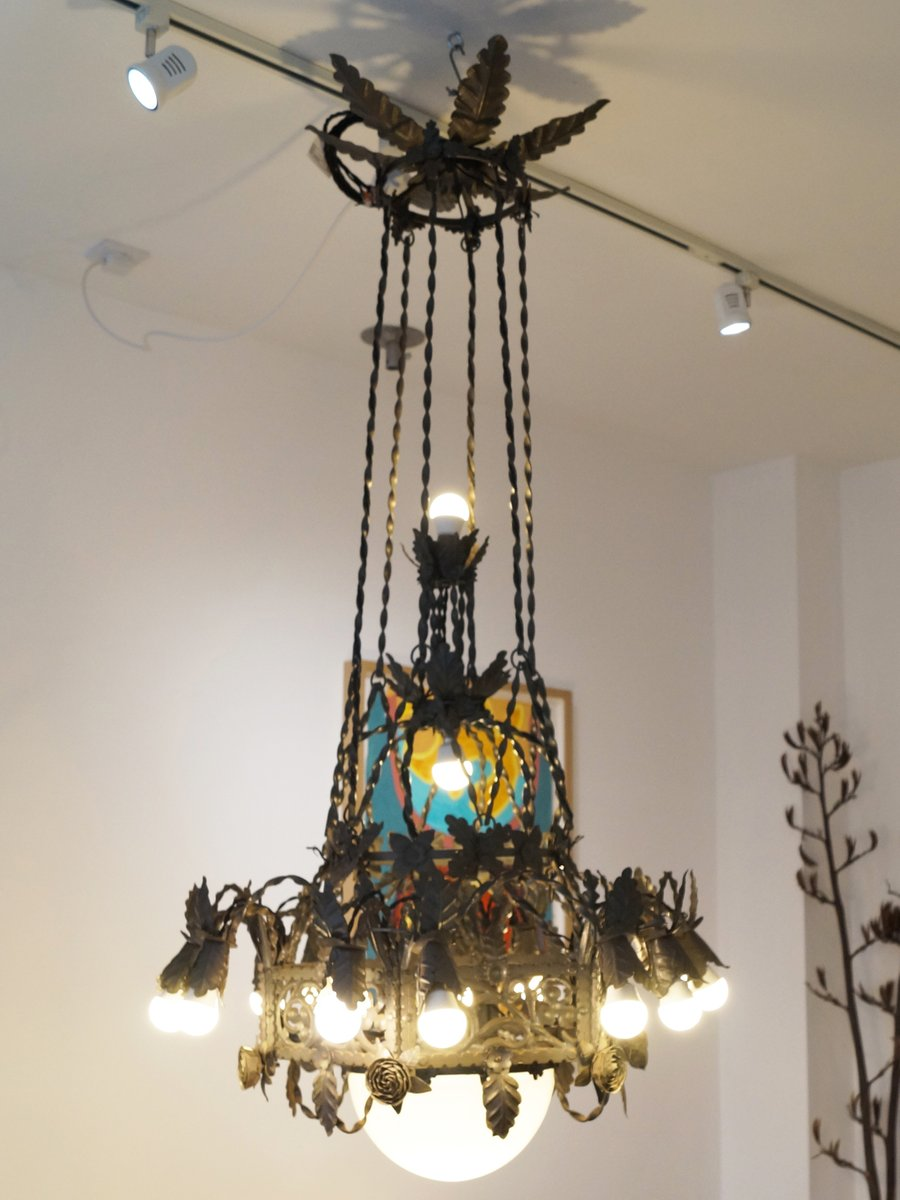 Large vintage gothic revival wrought iron chandelier for sale at pamono large vintage gothic revival wrought iron chandelier arubaitofo Image collections
